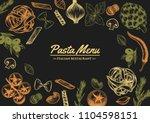 italian pasta frame . hand... | Shutterstock .eps vector #1104598151