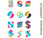 set of letter logo design... | Shutterstock . vector #1104605114
