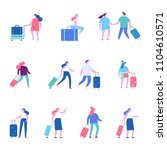 people with luggage.trip ... | Shutterstock .eps vector #1104610571