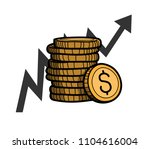 stack of coins with dollar... | Shutterstock .eps vector #1104616004