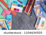 school stationery on background ... | Shutterstock . vector #1104634505
