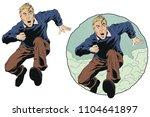 stock illustration. male runs... | Shutterstock .eps vector #1104641897