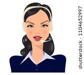 brunette in headphones ... | Shutterstock .eps vector #1104652997