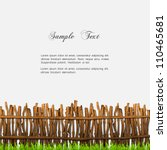 Rustic Fence With Grass. Vector ...