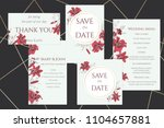 set of wedding cards with wine... | Shutterstock .eps vector #1104657881