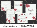 set of wedding cards with wine... | Shutterstock .eps vector #1104657884