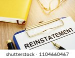 reinstatement on a clipboard... | Shutterstock . vector #1104660467