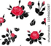 beautiful red roses pattern on... | Shutterstock .eps vector #1104662087