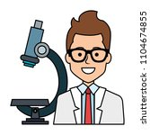 doctor with microscope avatar... | Shutterstock .eps vector #1104674855
