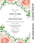 Stock vector wedding floral invite invtation save the date card design watercolor blush pink rose flowers 1104676019