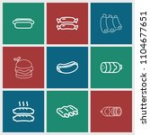 sausage icon. collection of 9...   Shutterstock .eps vector #1104677651