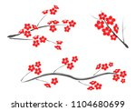 vector plum blossom.traditional ... | Shutterstock .eps vector #1104680699