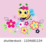sweet bees with beautiful... | Shutterstock .eps vector #1104681134