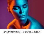 high fashion model girl in... | Shutterstock . vector #1104685364