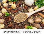 top view of caraway seeds in a... | Shutterstock . vector #1104691424