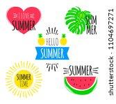 summer fun stickers set.... | Shutterstock .eps vector #1104697271