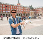hipster young man traveler... | Shutterstock . vector #1104697517