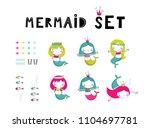 set of mermaids. hand drawn... | Shutterstock .eps vector #1104697781