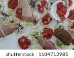 fast food on the table  | Shutterstock . vector #1104712985