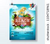 vector summer beach party flyer ... | Shutterstock .eps vector #1104718961