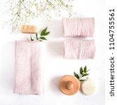 natural linen bath towels on a...   Shutterstock . vector #1104755561