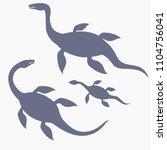 Stock vector silhouette of dinosaur nessie form loch ness lake vector illustration loch ness monster family 1104756041