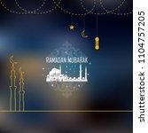 eid mubarak greeting cards.... | Shutterstock .eps vector #1104757205