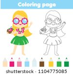 summer holidays coloring page... | Shutterstock .eps vector #1104775085