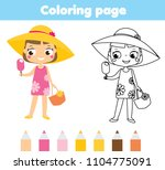 summer holidays coloring page... | Shutterstock .eps vector #1104775091