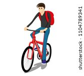 man rides on a red bicycle on a ... | Shutterstock .eps vector #1104789341