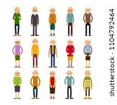 old people. set of diverse... | Shutterstock . vector #1104792464