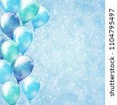blue balloons. vector sparkle... | Shutterstock .eps vector #1104795497