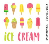 ice cream vector lettering with ... | Shutterstock .eps vector #1104801515