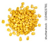 Small photo of Boiled corn kernels pile / heap from top view or above isolated on white background.