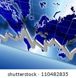 3d illustration of a chart and world map in the background / world economy chart - stock photo