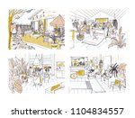 set of half colored freehand... | Shutterstock .eps vector #1104834557