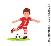 teenage soccer player boy... | Shutterstock .eps vector #1104835289
