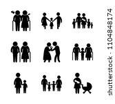 9 family icons vector set.... | Shutterstock .eps vector #1104848174