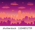 flat cityscape with sunset sky... | Shutterstock .eps vector #1104851759