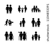 9 family icons vector set. cute ... | Shutterstock .eps vector #1104853391
