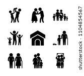 9 family icons vector set. bowl ...   Shutterstock .eps vector #1104854567