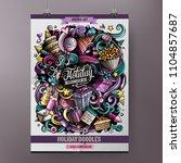 cartoon hand drawn doodles... | Shutterstock .eps vector #1104857687