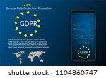 padlock and eu flag inside... | Shutterstock .eps vector #1104860747
