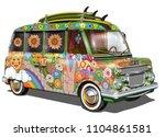 retro surf bus. | Shutterstock .eps vector #1104861581