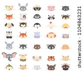 animal masks set for holidays... | Shutterstock . vector #1104863231