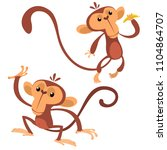 Cartoon Monkey Animals Flat...