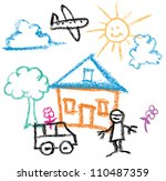 kids crayon drawing of sunny day house and man and car - Images Of Kids Drawing