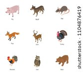 domesticated animal icons set.... | Shutterstock .eps vector #1104876419