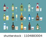 different alcohol drinks set... | Shutterstock . vector #1104883004