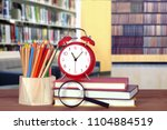 library and back to school... | Shutterstock . vector #1104884519